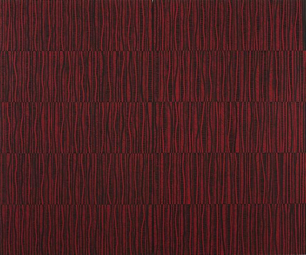 Katia Santibañez, The Red Path, 2011. Flashe on panel,  60 x 72 Inches, Courtesy Morgan Lehman Gallery
