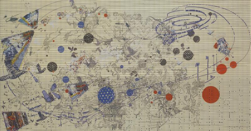 Sarah Sze, Day, 2003. Offset lithograph and silkscreen, 37 3/4 x 71 Inches. Courtesy the Asia Society